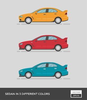 Sedan in 3 different colors