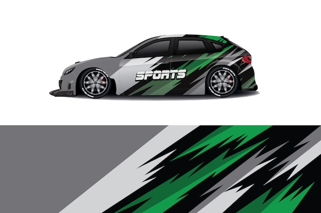 Sedan car decal wrap design