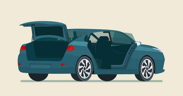 トランクとドアが開いたセダン車。フラットスタイルのイラスト。