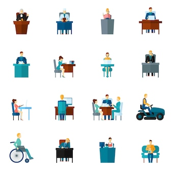 Sedentary icons flat