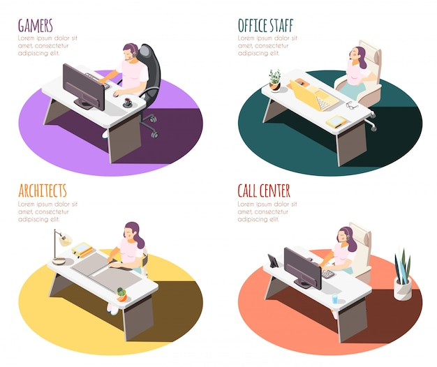 Sedentary lifestyle isometric 4x1 set of compositions with working place spots tables and people with text