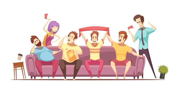 Sedentary lifestyle retro cartoon design