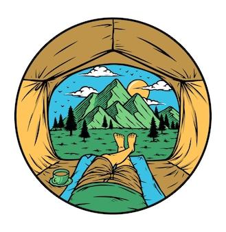 テントの中から山を見るイラスト