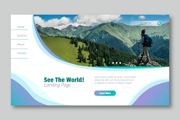 See the world landing page with photo