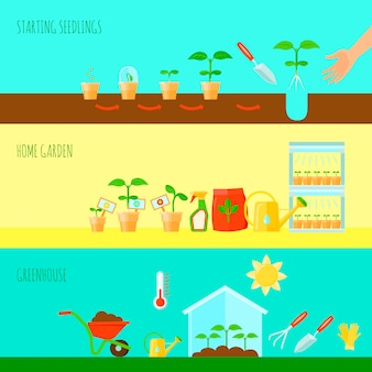 Seedling horizontal banners set with greenhouse symbols flat isolated vector illustration