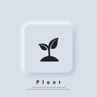 묘목 아이콘입니다. 생태 로고입니다. 새싹 아이콘입니다. 벡터. ui 아이콘입니다. neumorphic ui ux 흰색 사용자 인터페이스 웹 버튼입니다. 뉴모피즘