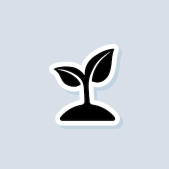 Seedling sticker. ecology logo. sprout icons. vector on isolated background. eps 10.