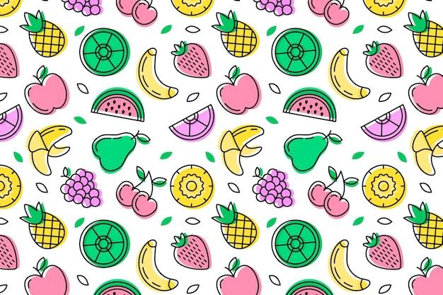 種子とエキゾチックなフルーツのシームレスコレクション