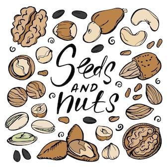 Семена и орехи еда эскиз с фисташками, семенами миндаля, грецкими орехами, фундуком, кешью