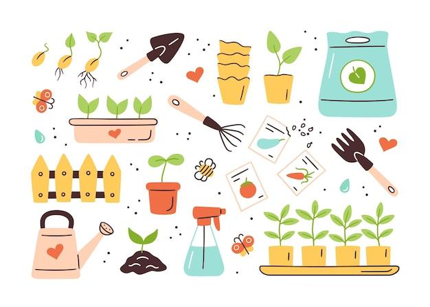 씨앗과 묘목. 콩나물 발아. 심기위한 도구, 화분 및 토양. 세트