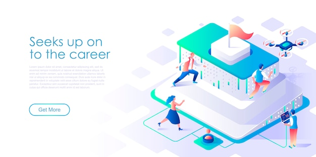 Seek up on to career isometric landing page template