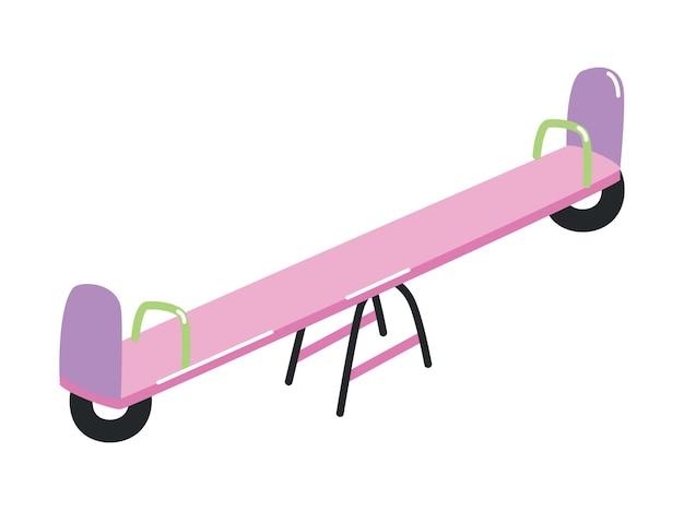 白い背景で隔離のハンドルが付いているシーソーまたはteeter-totter。子供の遊びや娯楽のための屋外装置またはアトラクション。フラット漫画スタイルのカラフルなベクトルイラスト。