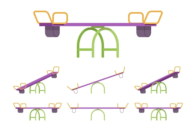 Seesaw set for playground equipment