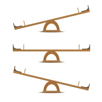 Seesaw or wooden balance scale