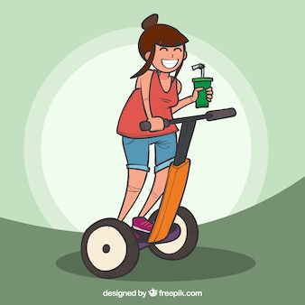Современная женщина с segway и drink
