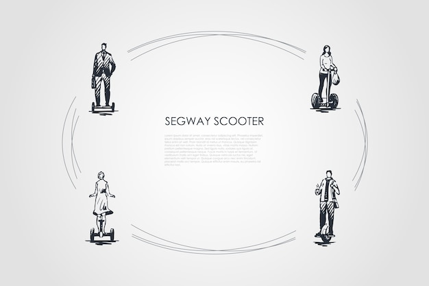 Segway scooters hand drawn cicle