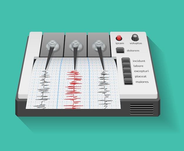 지진 및 지진 활동 그래프가있는 지진계 기계. 계기 지진계, 기술 그래프, 벡터 일러스트 레이션