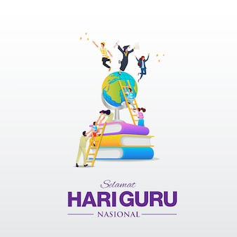 Selamat hari guru nasional. translation: happy indonesian national teacher's day.  illustration. suitable for greeting card, poster and banner