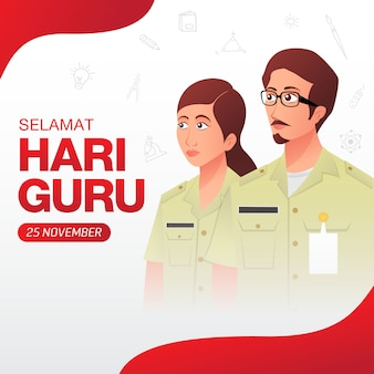 Selamat hari guru. translation: happy teacher's day. indonesian holiday teacher's day illustration. suitable for greeting card, poster and banner