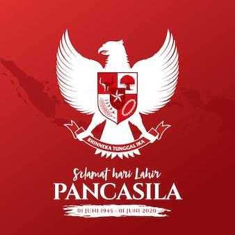 図。 selamat hari lahir pancasila。翻訳:幸せなパンカシラの日。 。