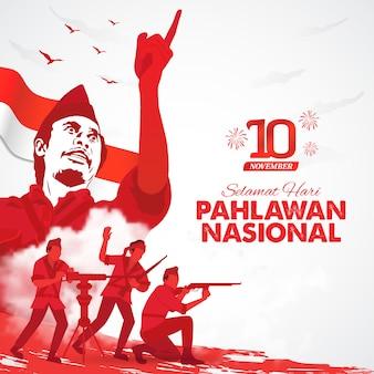 Selamat hari pahlawan nasional. перевод: с днем индонезийских национальных героев. иллюстрация для поздравительной открытки