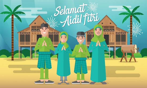 Selamat hari raya aidil fitri greeting card in flat style   illustration with moslem family character with traditional malay village house / kampung and drum