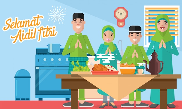 Selamat hari raya aidil fitri greeting card in flat style   illustration with moslem family feasts, plentiful food, desserts and rice dumpling/ketupat