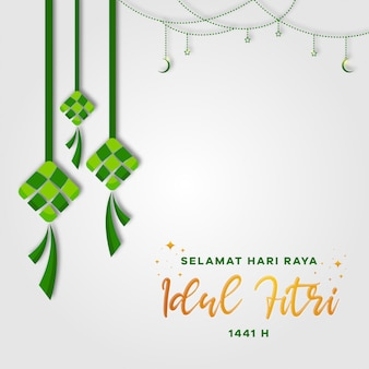 Selamat hari raya idul fitri(eid mubarak)グリーティングカード。三日月と星のケトゥパト