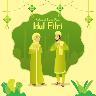 Selamat hari raya idul fitri is another language of happy eid mubarak in indonesian. cartoon muslim couple celebrating eid al fitr
