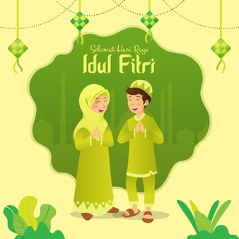 Selamat hari raya idul fitri is another language of happy eid mubarak in indonesian. cartoon muslim kids celebrating eid al fitr