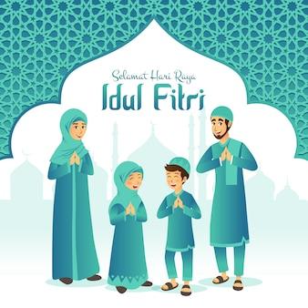 Selamat hari raya idul fitriは、インドネシア語で幸せなイードムバラクの別の言語です。モスクとアラビア語のフレームでイードアルフィトルを祝う漫画イスラム教徒の家族