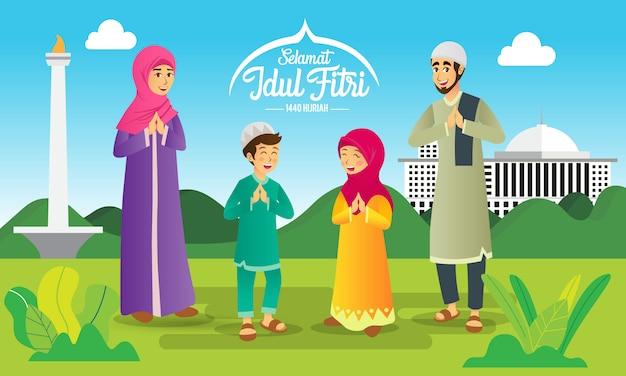 Selamat hari raya idul fitriは、インドネシア語で幸せなイードムバラクの別の言語です。イードアルフィトルを祝う漫画イスラム教徒の家族