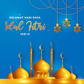 Selamat hari raya idul fitri means happy eid mubarak in indonesian, for eid and ramadan mubarak greeting card design with stars lantern and mosque, invitation for muslim community.