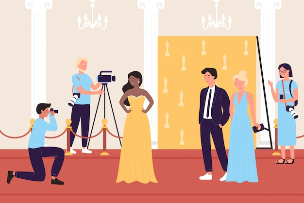 Selebrity famous people in fashionable dress with paparazzi journalists cameramen on red carpet flat  illustration. business or cinema stars luxury event, fashion party show, award ceremony.