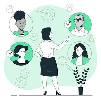 Selezione dell'illustrazione del concetto di squadra
