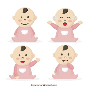 Selection of baby with pink pajamas in different postures