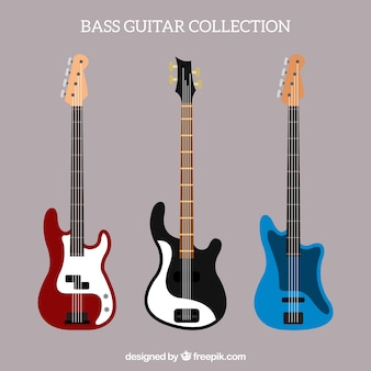 Selection of bass guitars in flat design