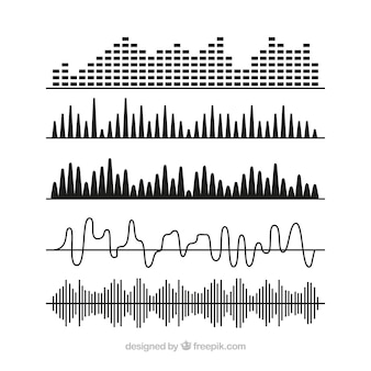 Selection of black sound waves with different designs