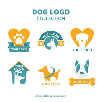 Selection of blue and orange dog logos in flat design