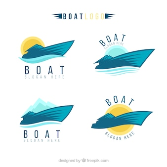Selection of boat logos in abstract style