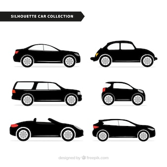 Selection of car silhouettes with color details