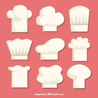 Selection of chef hats in flat design