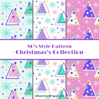 Selection of christmas patterns in 80s style