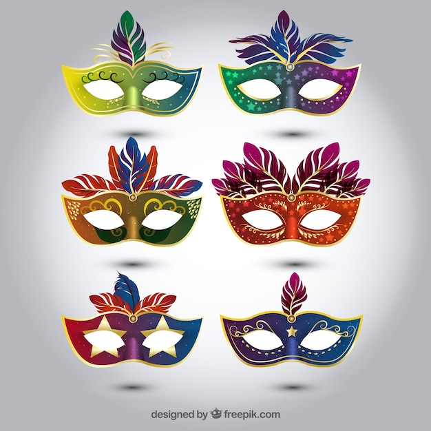Selection of colorful carnival masks in realistic style