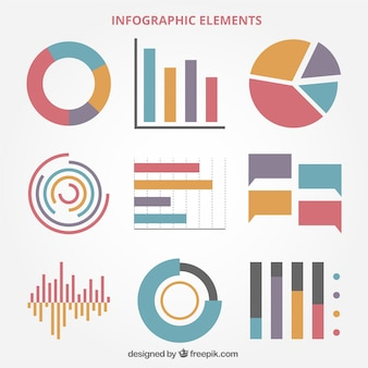 Selection of colorful graphs in flat design for infographics