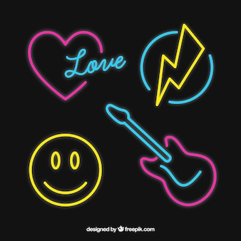 Selection of decorative neon lights elements
