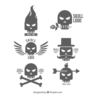 Selection of decorative skull logos with silhouettes