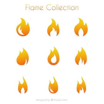 Selection of flames in minimalist style