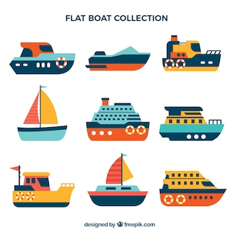 Selection of flat colored boats