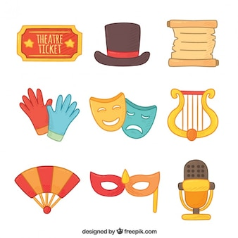 Selection of flat colorful theater elements